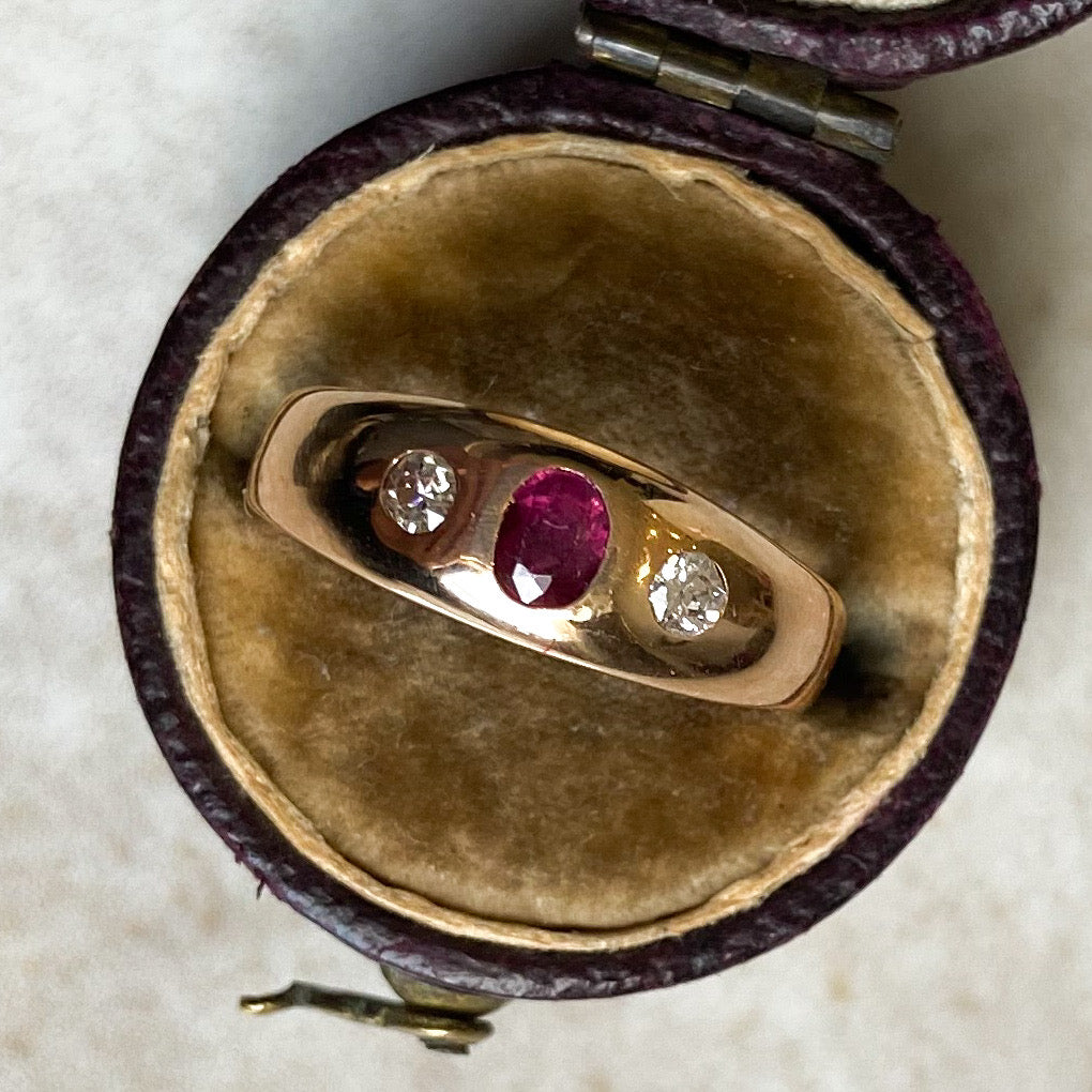 1980's Vintage 9ct Gold, Diamond and Ruby Gypsy Ring