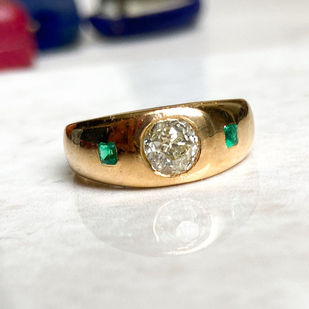 Victorian Emerald and Diamond Gypsy Ring
