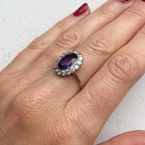 2.70ct Natural Purple Sapphire and Diamond Cluster Ring (GIA certified)