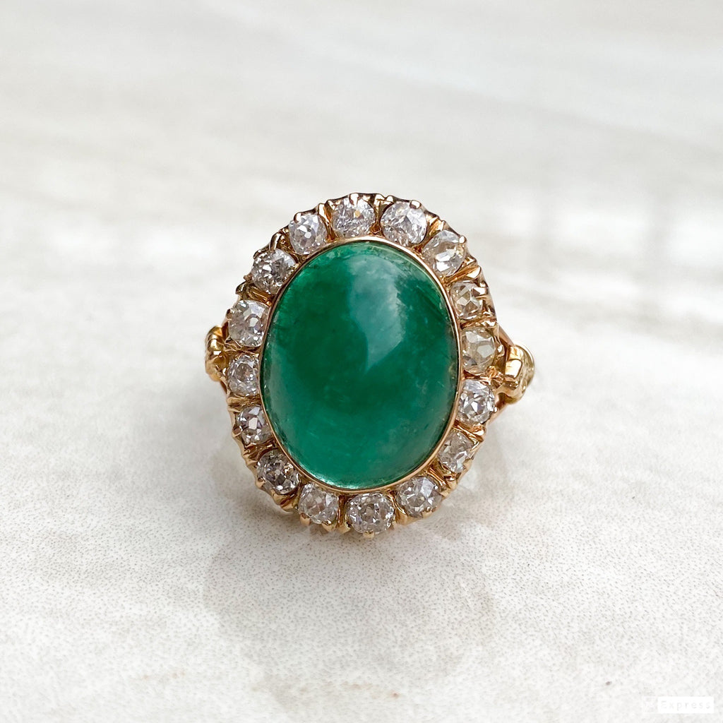 Vintage 9.50ct Emerald and Diamond Cluster Ring