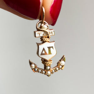Vintage Enamel and Pearl Anchor Pendant