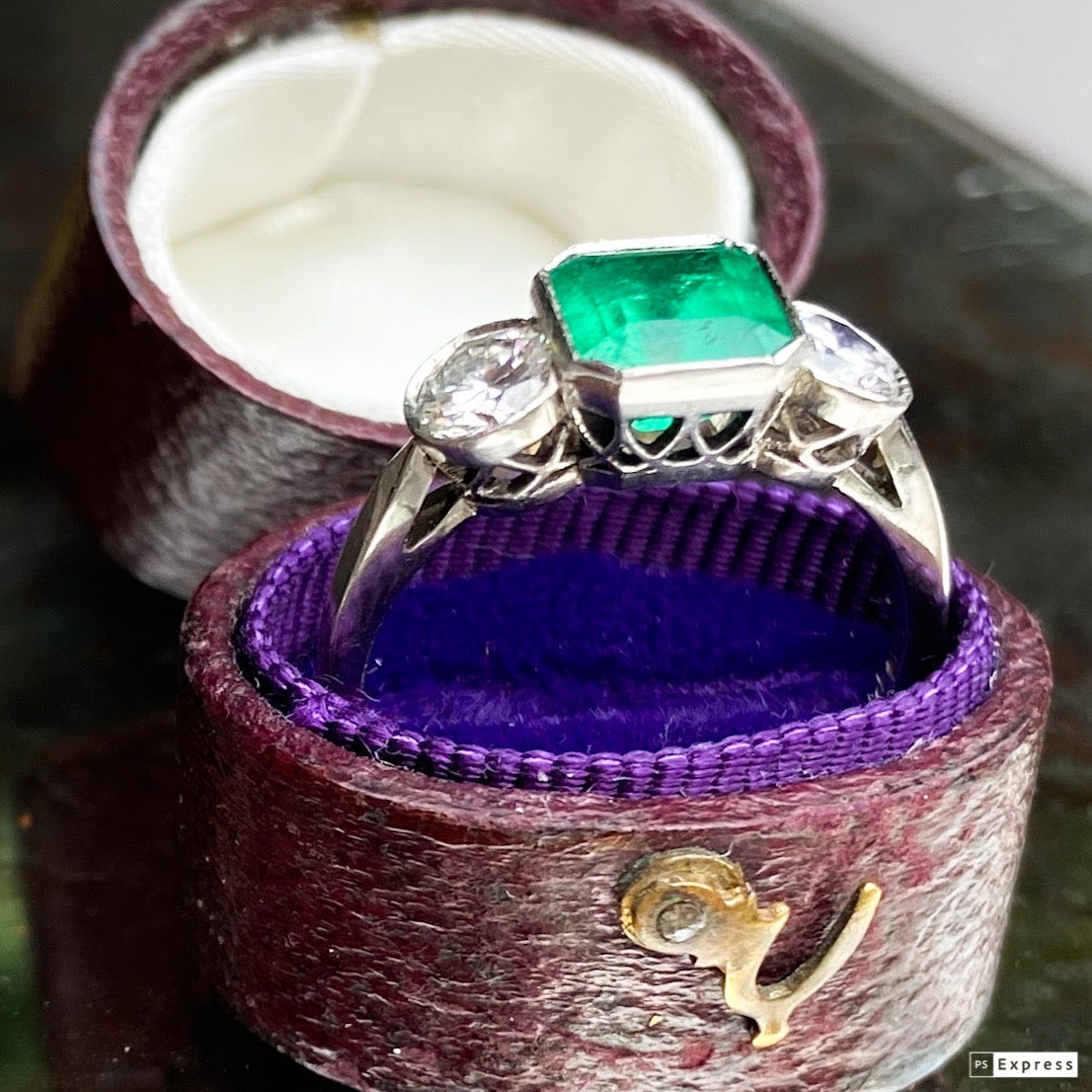 Vintage 1.17ct Asscher Cut Emerald and Diamond Trilogy Ring