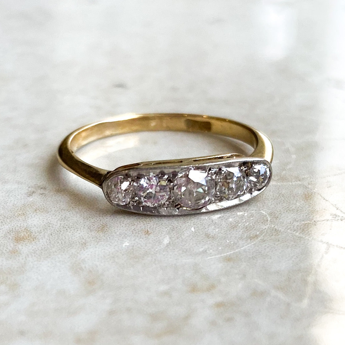 Edwardian Five Stone Diamond Boat Ring