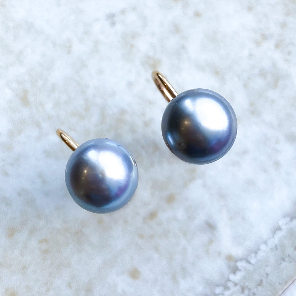 Tahitian Grey Pearl Stud Earrings