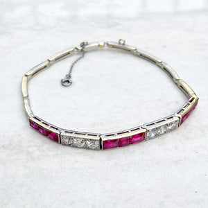 Vintage Ruby and Diamond Half Tennis Bracelet, 1960's