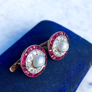 Art Deco Natural Pearl, Diamond and Ruby Target Earrings