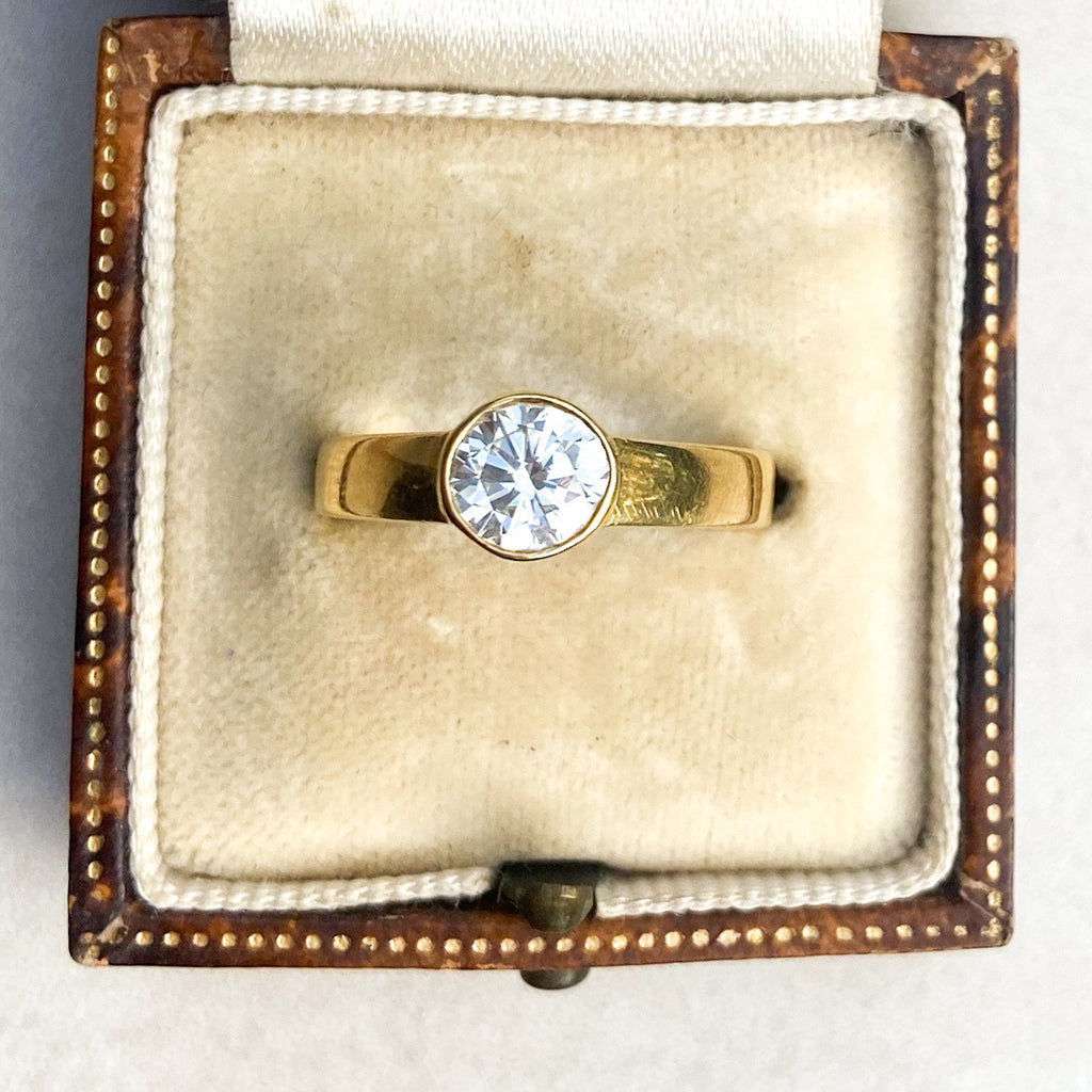 Vintage 0.70ct Bezel Set, Vintage Diamond Ring