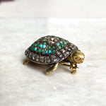 Turquoise and Diamond Turtle Brooch