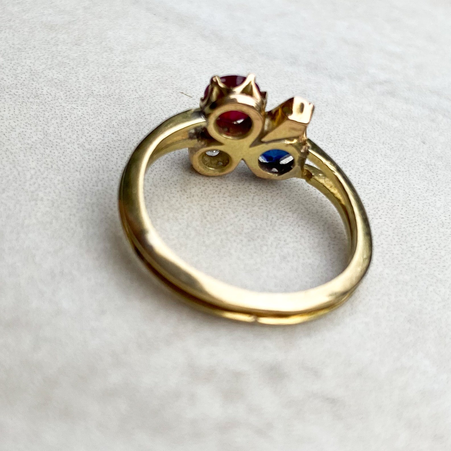 Art Nouveau Ruby, Sapphire and Diamond Clover ring