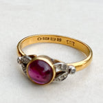 Cabochon Garnet and Diamond Ring
