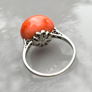 Edwardian Button Coral Ring