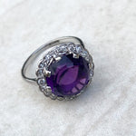 4ct Amethyst and Diamond Cluster Ring