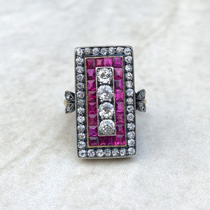 1920's Ruby and Diamond Panel Ring