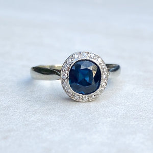 0.80ct Sapphire and Diamond Halo Ring