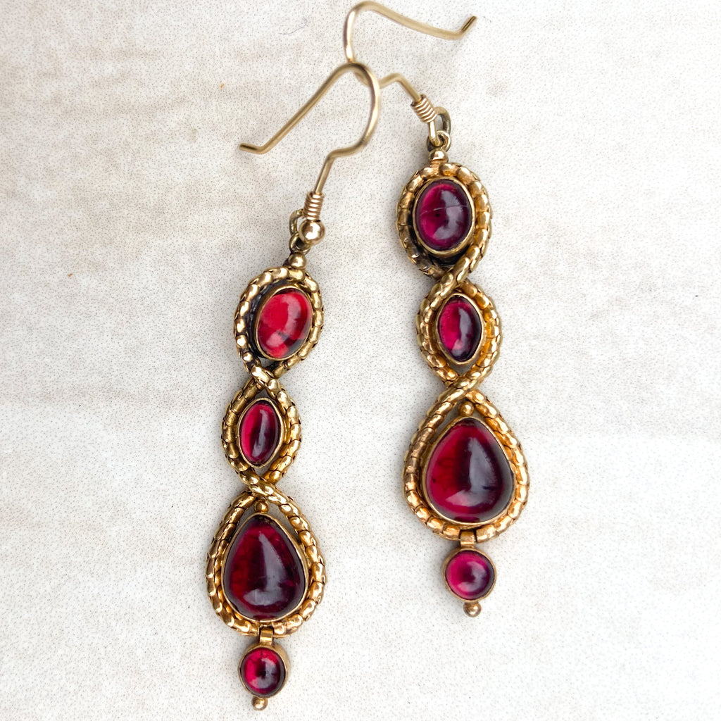 Garnet and 22ct Gold Snake Earrings