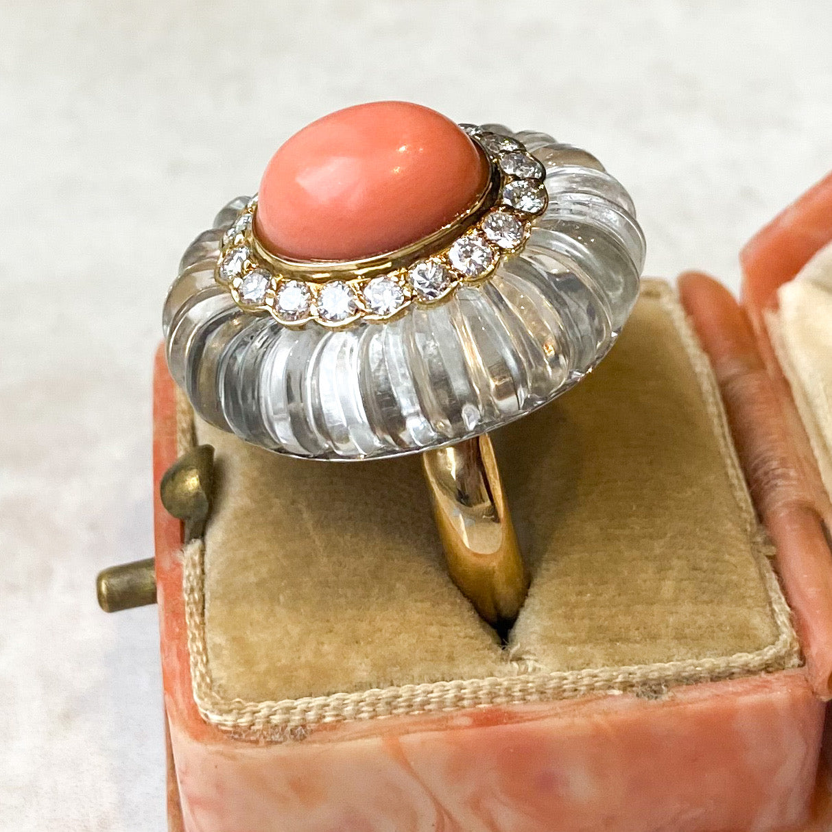 Vintage Coral, Diamond & Carved Rock Crystal Ring