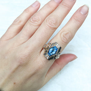 Retro, Blue Topaz and Diamond Geometric Ring