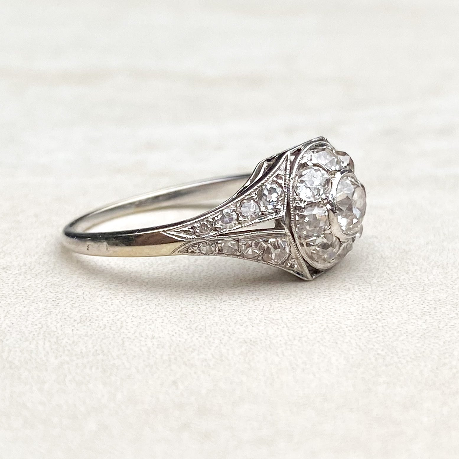 Art Deco French Platinum 1.00ct Diamond Halo Ring