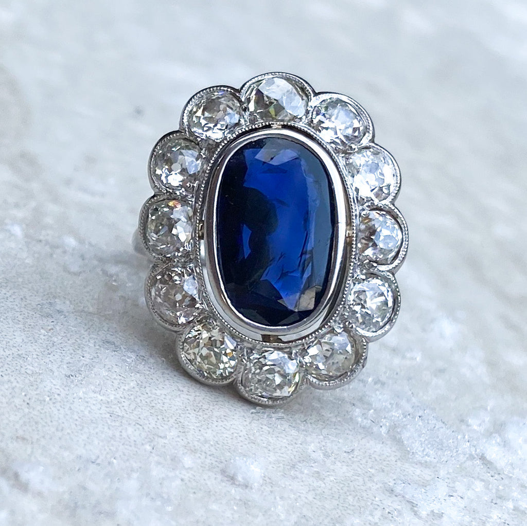 2.60ct Sapphire and Diamond Cluster Ring