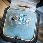 3.40ct Aquamarine and Diamond Vintage Ring