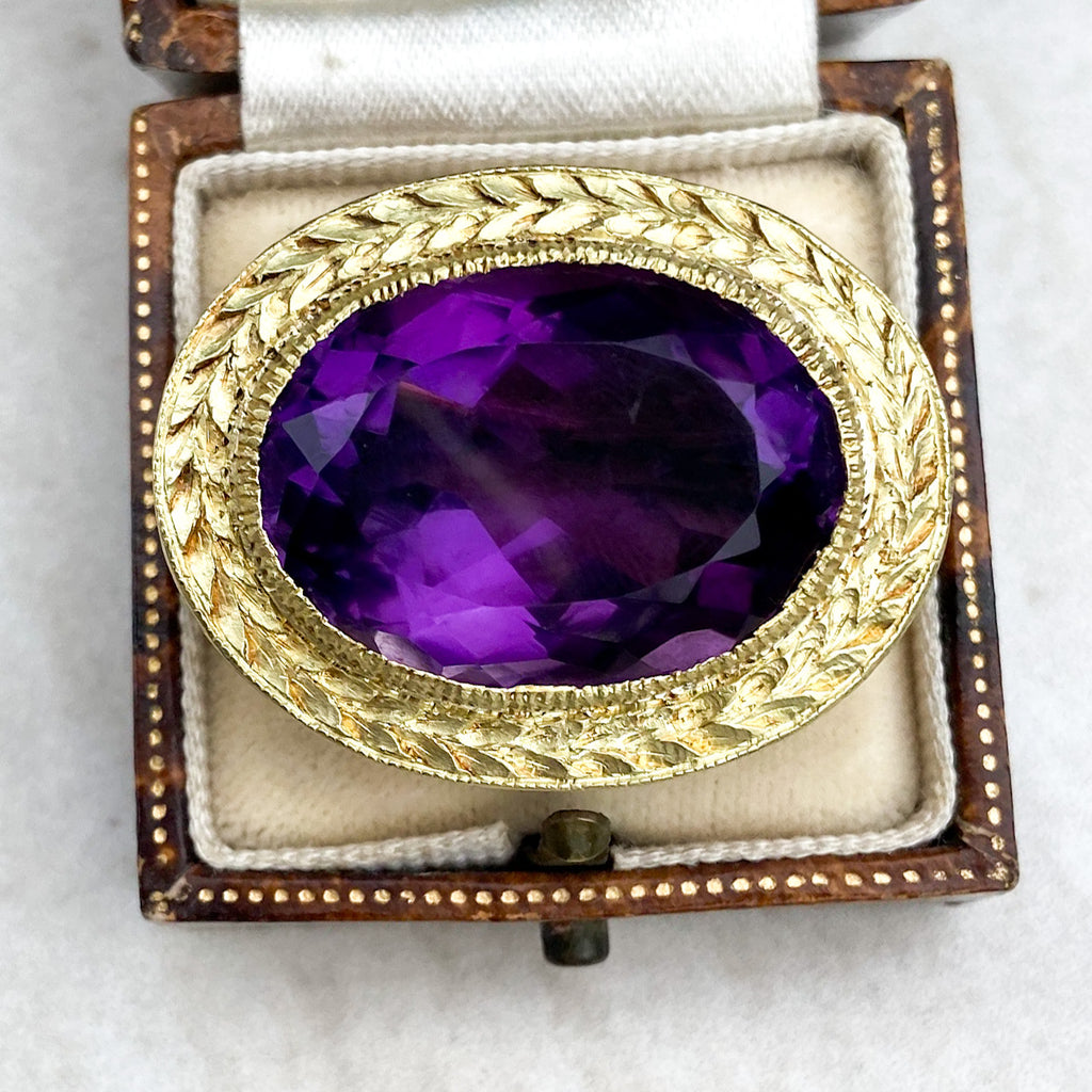 Victorian 25ct Oval Amethyst Brooch in 18ct Gold