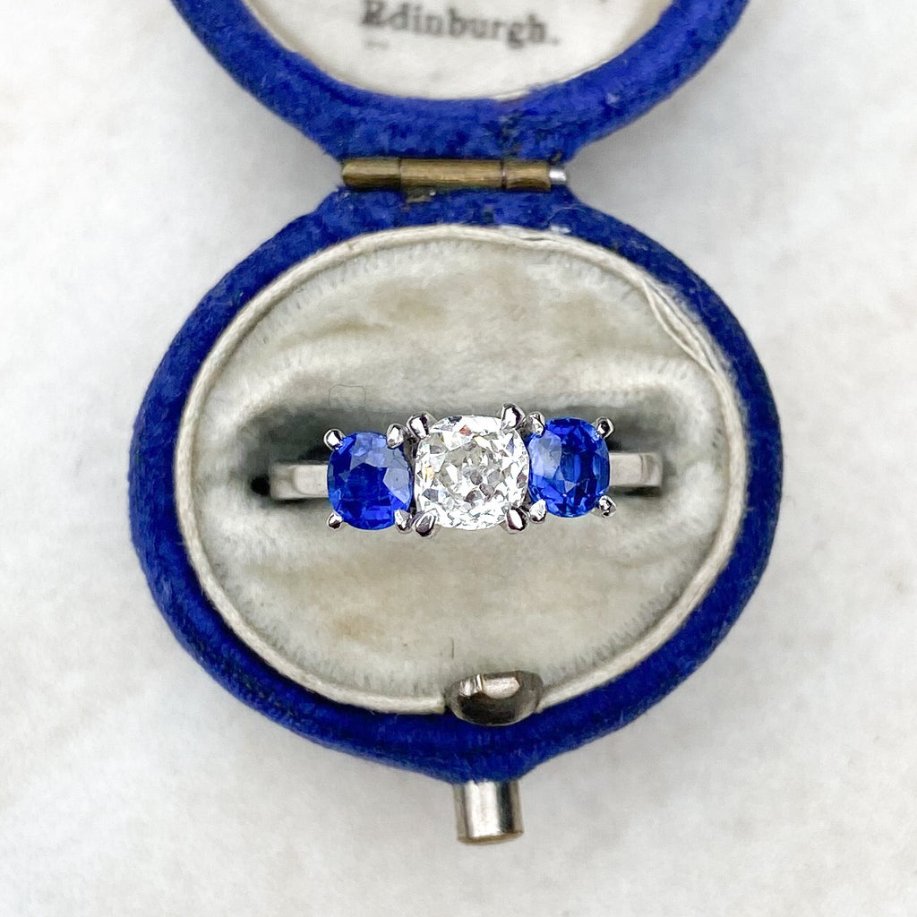 Vintage Sapphire and Diamond 3 Stone Ring
