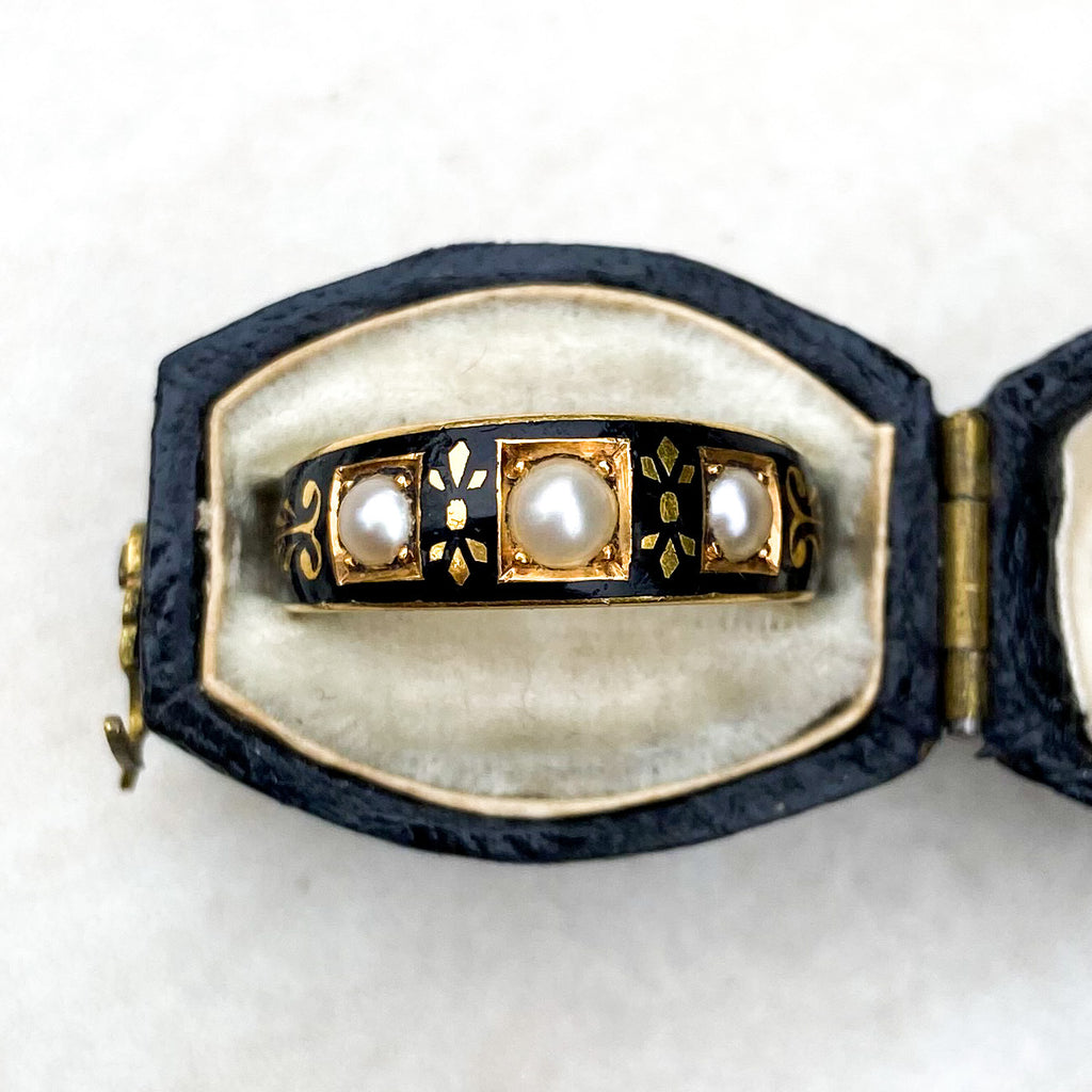 Victorian Pearl and Black Enamel Mourning Ring