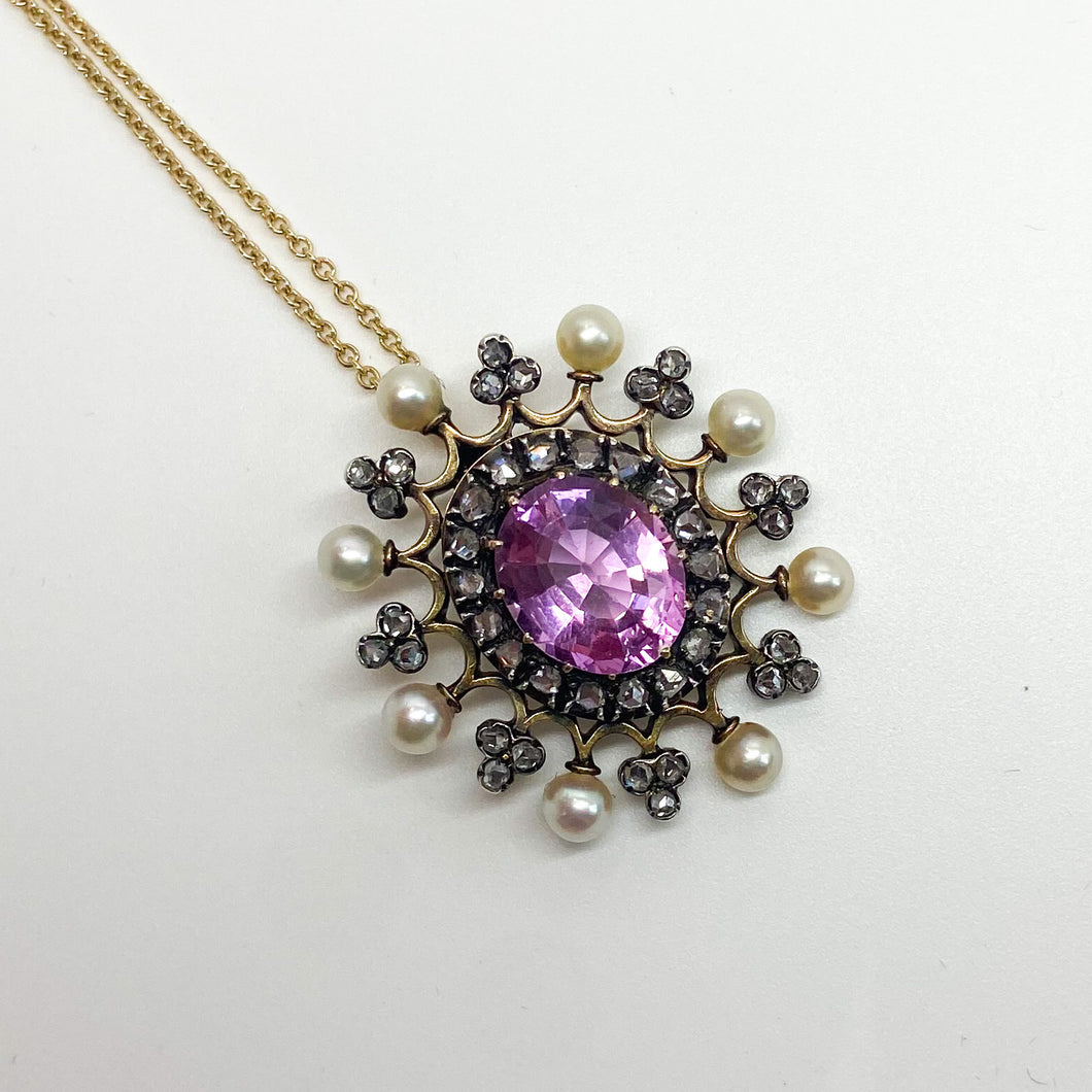 Antique 3.00ct Pink Topaz, Pearl and Diamond Pendant