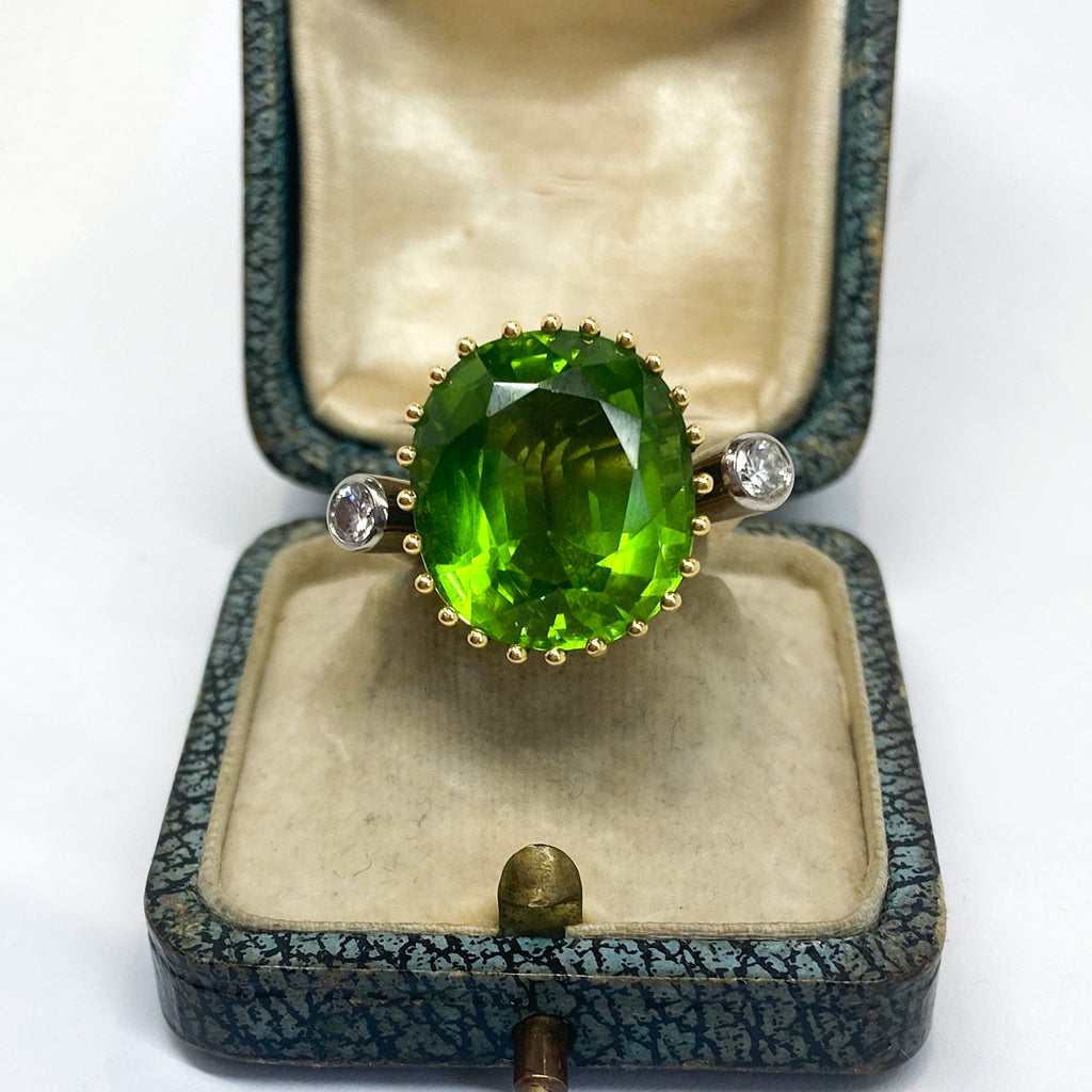 16.80ct Peridot and Diamond Vintage Cocktail Ring