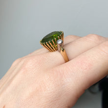 Load image into Gallery viewer, 16.80ct Peridot and Diamond Vintage Cocktail Ring