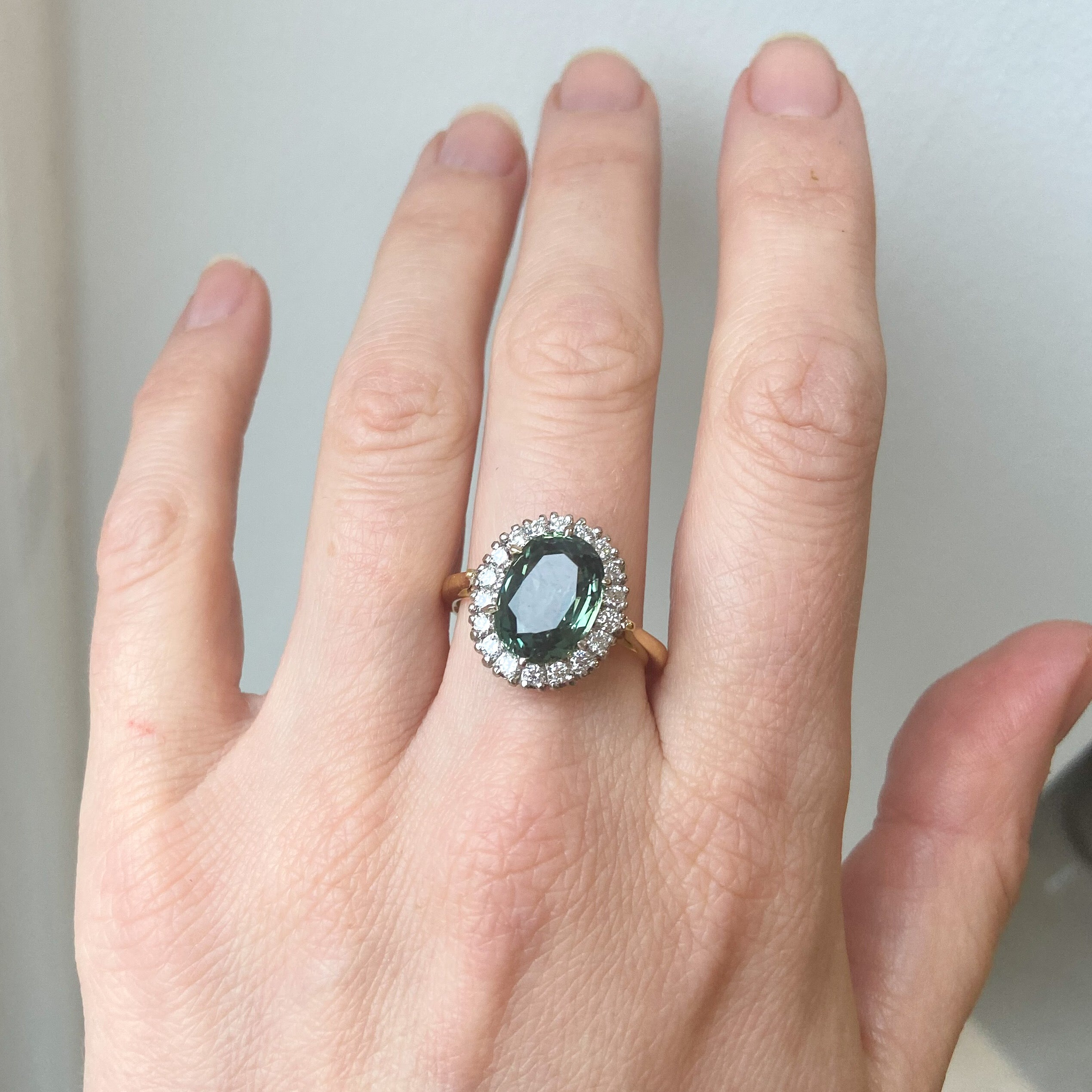 Vintage 1940's Green Sapphire and Diamond Halo Ring