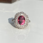 Antique Edwardian 2.59ct Pink Tourmaline & Diamond Ring