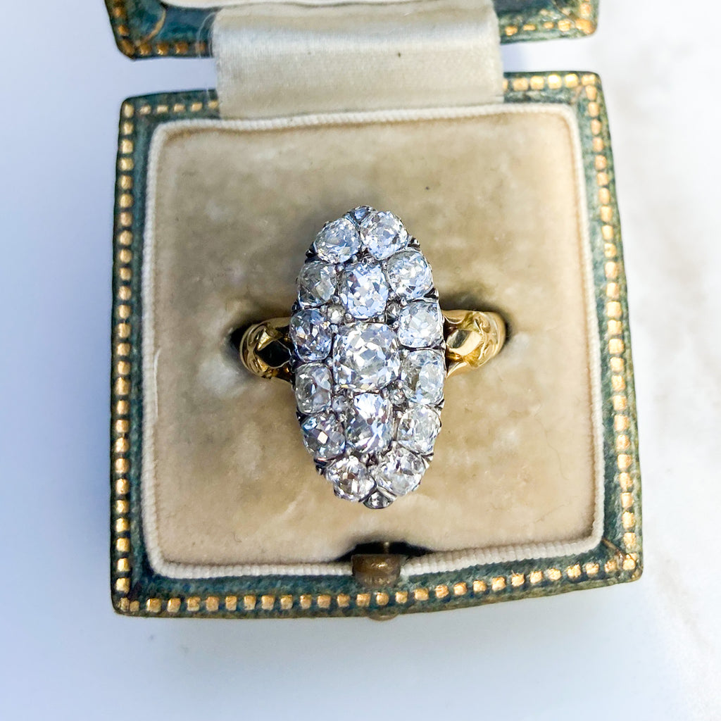 Antique Victorian 2.70ct Old Cut Navette Ring