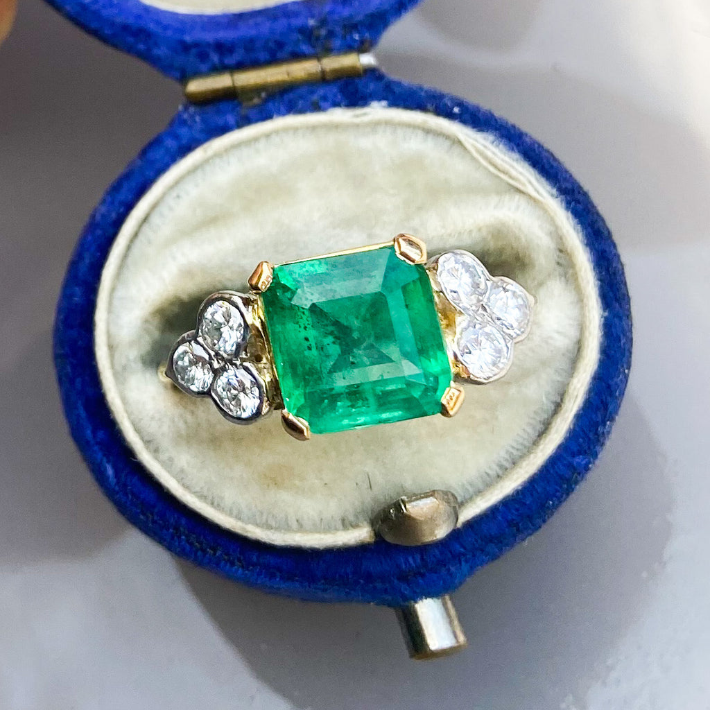 Vintage 2.50ct Colombian Emerald & Diamond Ring