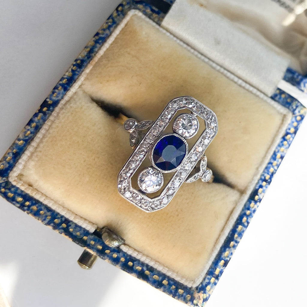 Vintage 0.50ct Diamond and 0.75ct Sapphire Art Deco Panel Ring
