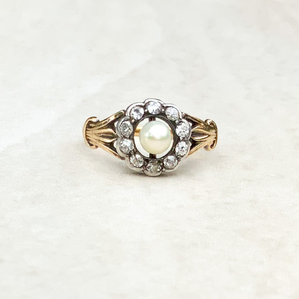 Antique Pearl and Diamond Halo Ring
