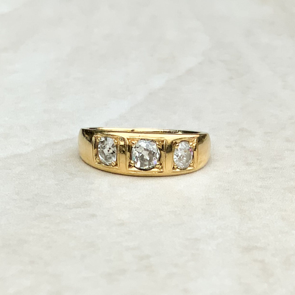 Antique Gold Gypsy Ring with Diamond Trilogy