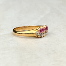 Load image into Gallery viewer, Antique Victorian Diamond and Ruby Double Row Line Ring
