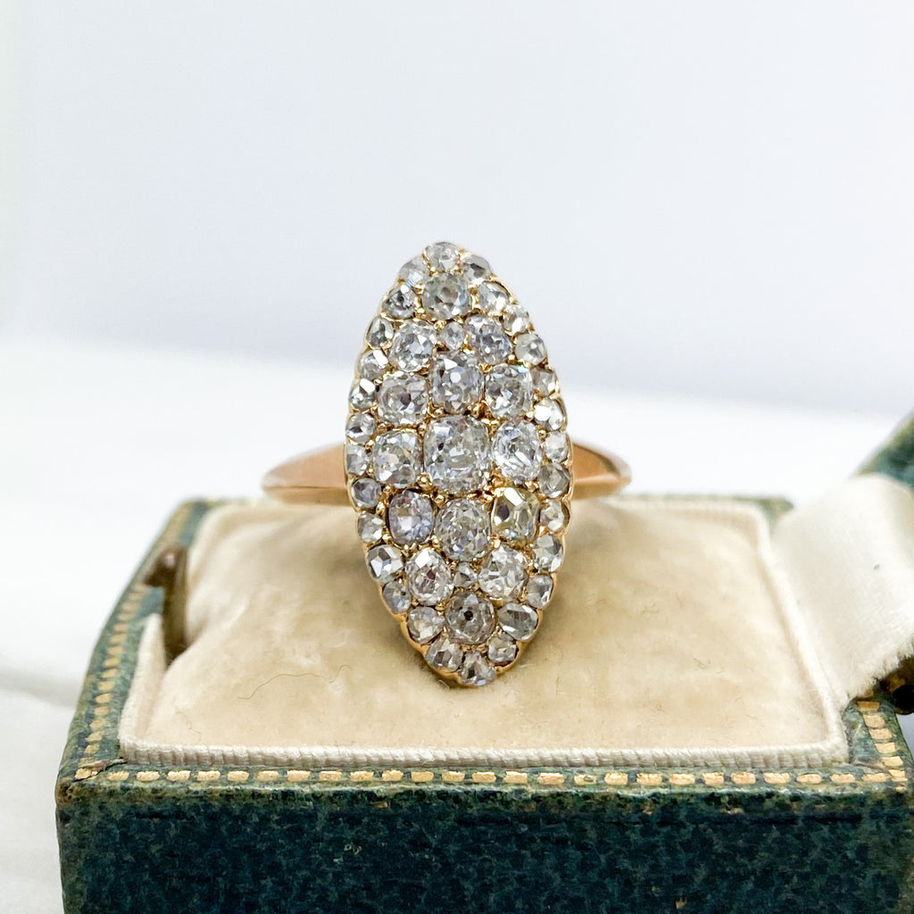 Antique Victorian 2.10ct Diamond and Gold Navette Ring