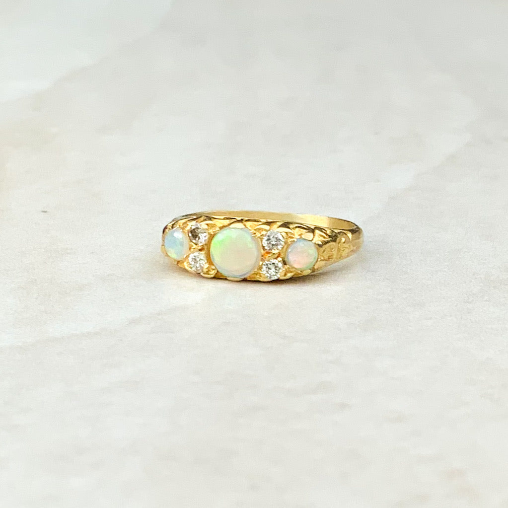 Vintage 0.60ct Cabochon Opal and 0.40ct Diamond Ring