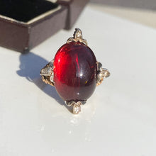 Load image into Gallery viewer, Antique 18.80ct Cabochon Garnet and Diamond Ring