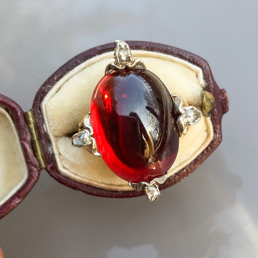 Antique 18.80ct Cabochon Garnet and Diamond Ring