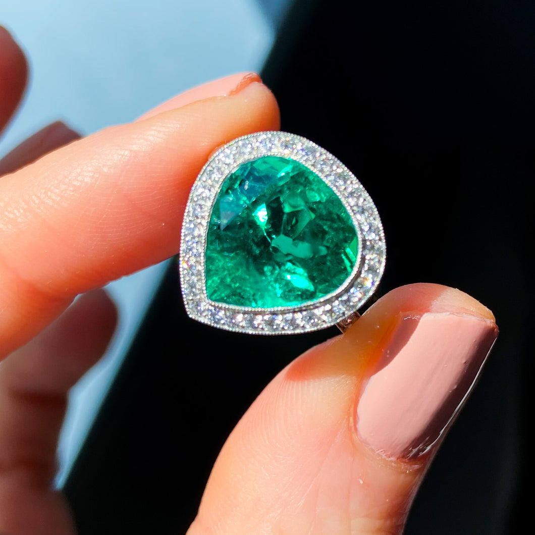 Vintage, 4.75ct Fancy Cut Colombian Emerald and Diamond Ring