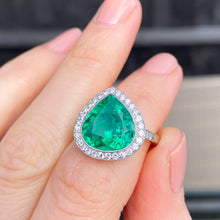 Load image into Gallery viewer, Vintage, 4.75ct Fancy Cut Colombian Emerald and Diamond Ring