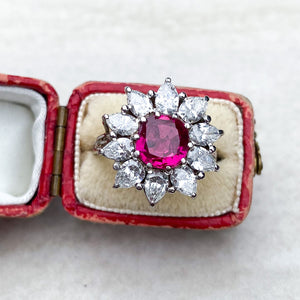 Vintage, Unheated, 1.66ct Burma Ruby and Diamond Flower Ring