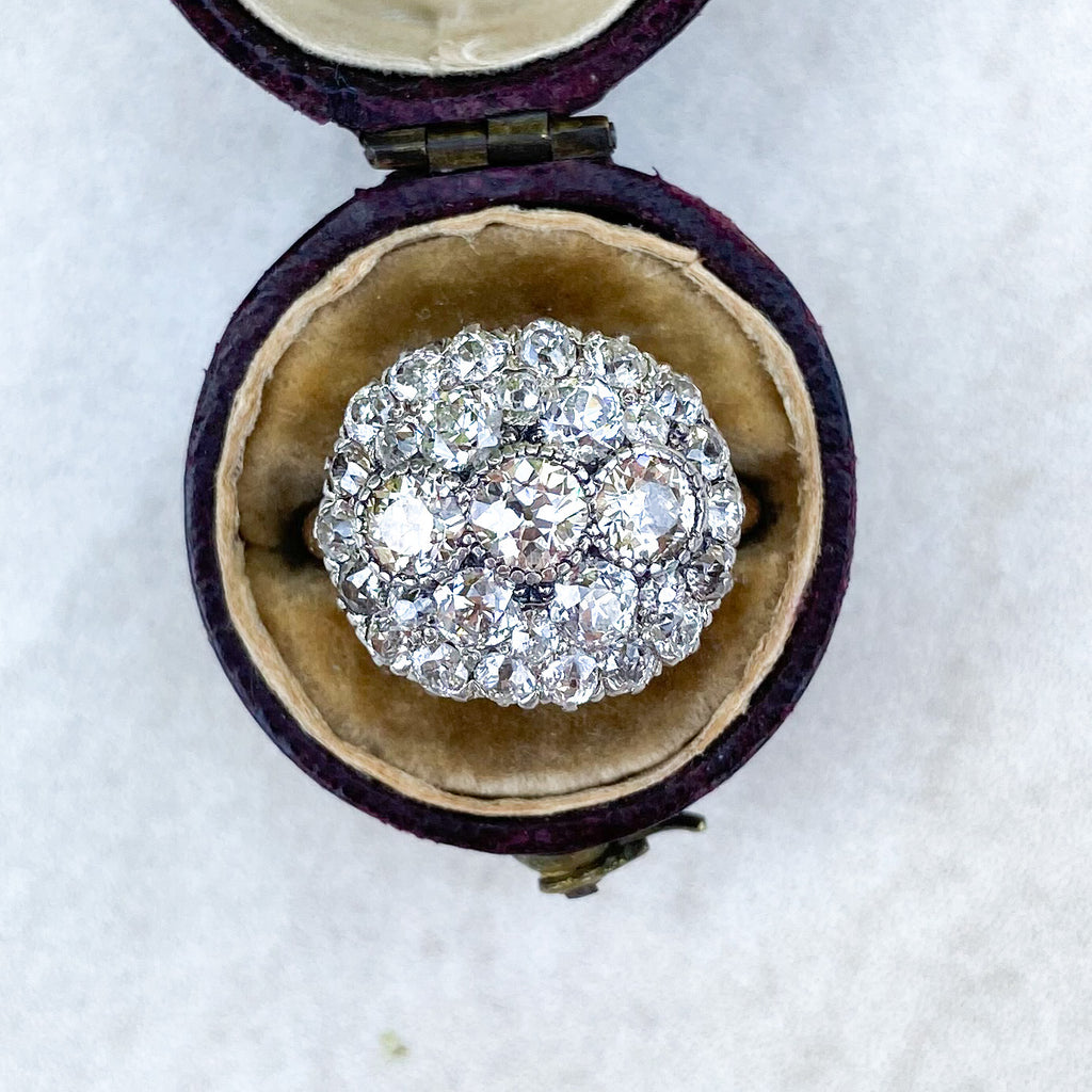 Antique Edwardian 3.76ct Diamond Cluster Ring
