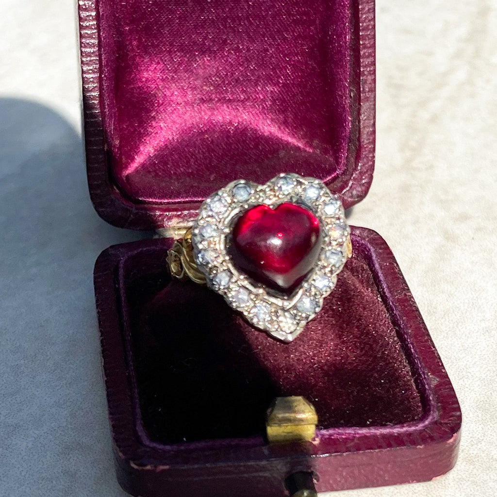Vintage 6.00ct Garnet Heart and Rose Cut Diamond Ring