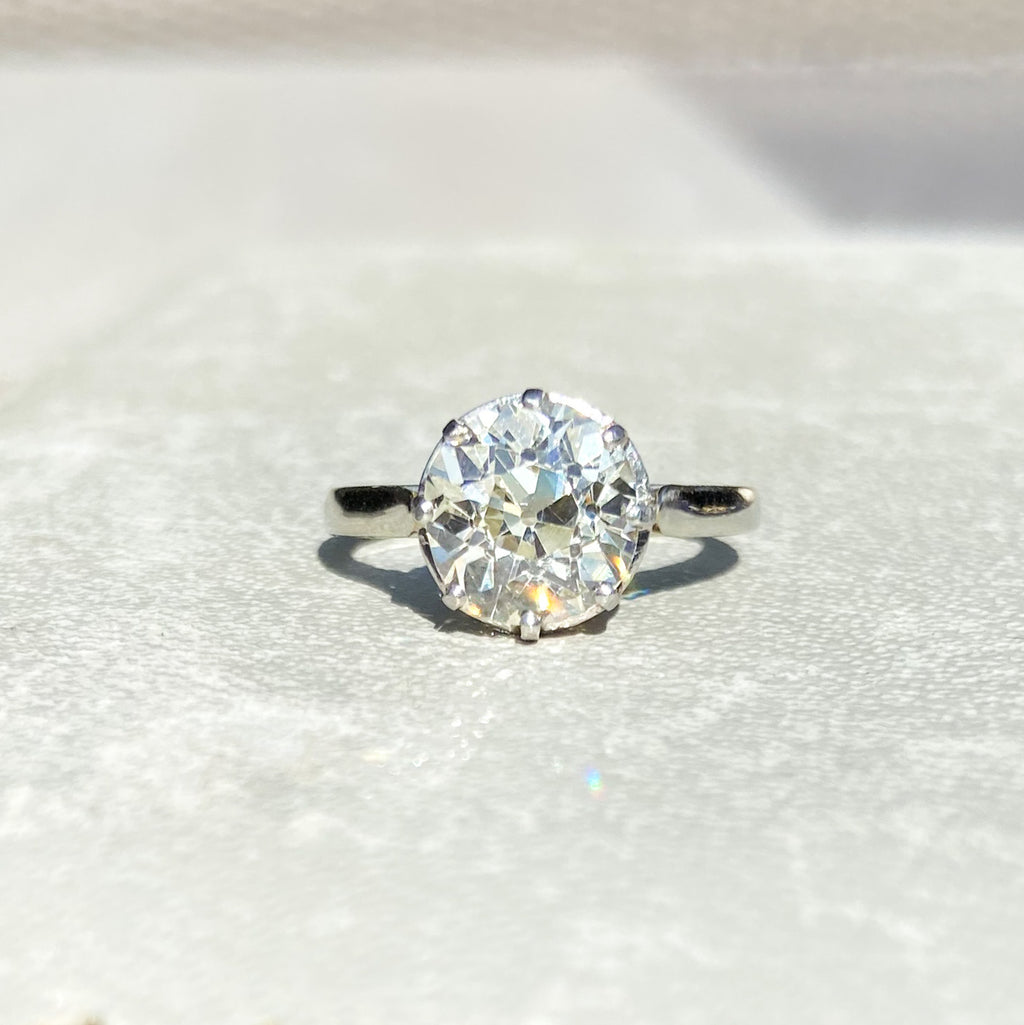 Antique 2.27ct Old Cut French Diamond Solitaire