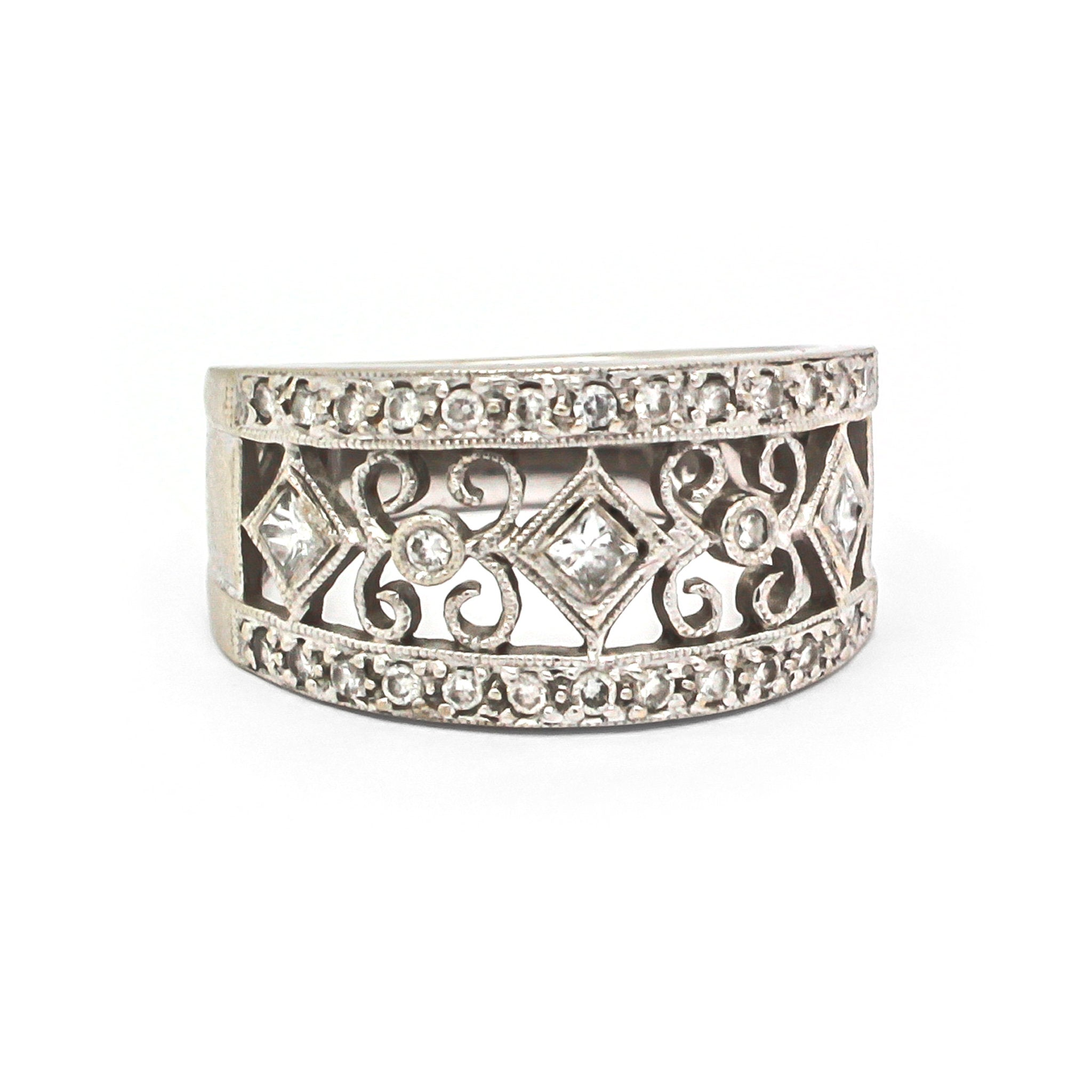 Diamond and White Gold Wide Band Filligree Ring