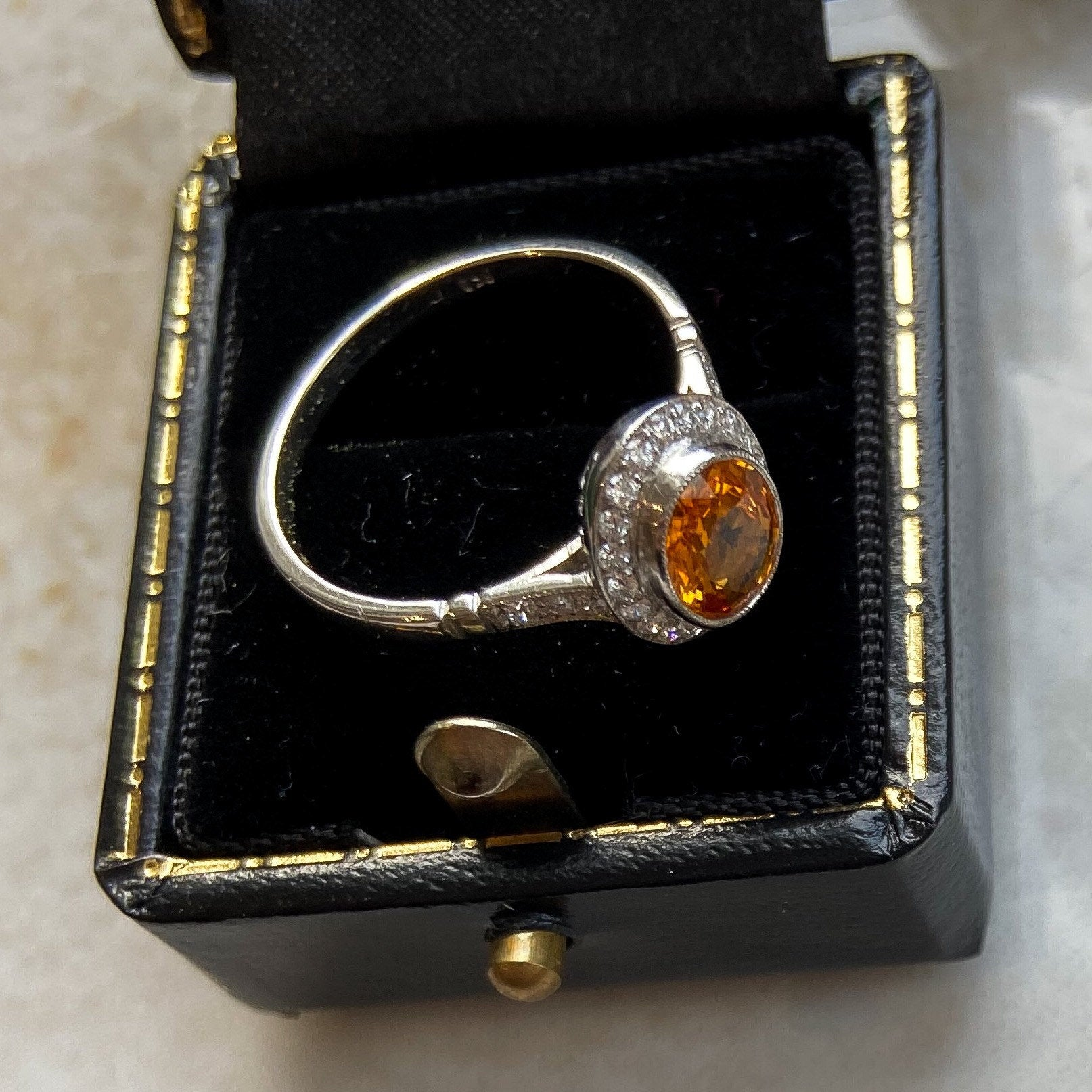 Vintage Natural Yellow Sapphire and Diamond Platinum Ring